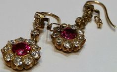 Burma Ruby and Diamond Earrings. Mounted in gold 22K