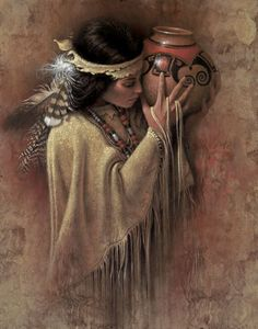 """Lee Bogle Handsigned and Numbered Limited Edition Giclee on Canvas: """"The Vessel"""" Artist: Lee Bogle Title: The Vessel Edition Size: Artist Handsigned and Numbered (S/N) to 250 Medium: Canvas Giclee - unstretched Image Size: 2 Native American Paintings, Native American Pictures, Native American Beauty, American Indian Art, Indian Paintings, American Indians, Native Indian, Native Art, Desenho Tattoo"""