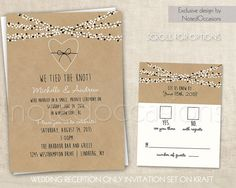Wedding Reception Only Invitations On Kraft Paper Rustic Wedding Invitations  Confetti Lights Wedding Invites Digital Printable