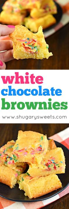 White Chocolate Brownies are delicious, gooey treats with the same texture as a brownie! Add a few sprinkles for color and fun!