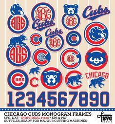 Chicago Cubs Monogram Frames. Vector Digital Cut by SVGheavenSTORE Vinyl Projects, Diy Craft Projects, Silhouette Projects, Silhouette Cameo, Go Cubs Go, Baseball Party, Bear Logo, Mlb Teams, Vinyl Signs