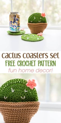 crochet diy Crochet Cactus Coasters with the cutest little clay pot holder you ever did see! I loved making this little set of crochet cacti coasters for drippy drinks in the summer theyr Cactus En Crochet, Crochet Diy, Crochet Home Decor, Crochet Ideas, Quick Crochet Gifts, Crochet Decoration, Tutorial Crochet, Crochet Tutorials, Thread Crochet