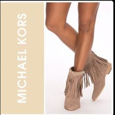 "Michael Kors Fringe Booties Brand new w/o tags. Taupe suede leather fringe booties. Has MK gold tone logo on back of heel and gold studs accent around the ankle. 1"" stacked wood heel. Michael Kors Shoes Ankle Boots & Booties"