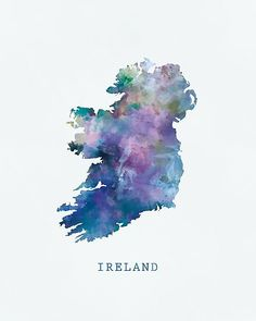 Ireland Art Print by Monn Print. All prints are professionally printed, packaged, and shipped within 3 - 4 business days. Ireland Map, Ireland Travel, City Painting, Painting Abstract, Celtic, Map Artwork, Watercolor Map, Photos Voyages, Voyage