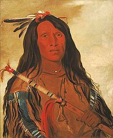 Portrait of Cheyenne chief Wolf-on-the-Hill by George Catlin, 1832. Painted at Fort Pierre during a westward expedition.