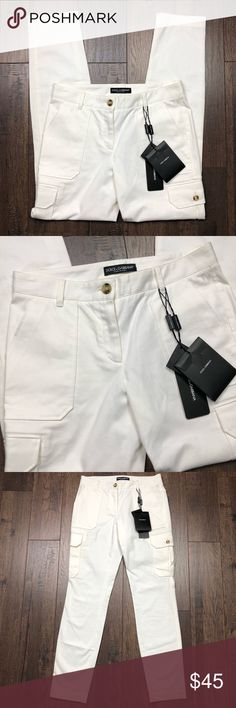"""Dolce & Gabbana White Cropped Pants NWT! Dolce & Gabbana white cargo style cropped pants. Pockets on sides and back. Italian size 36= US size 4.  Waist: 29"""". Rise: 8.5"""". Inseam: 29"""". No trades, offers welcome. Bundle and save! Dolce & Gabbana Pants Ankle & Cropped"""
