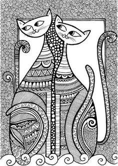 Cats 02 for Zentangle Card series Doodle Illustration Line drawings Mandala patterns Doodle Art Drawing, Zentangle Drawings, Zentangle Patterns, Cat Drawing, Line Drawing, Zentangles, Zen Doodle Patterns, Cat Doodle, Drawing Ideas