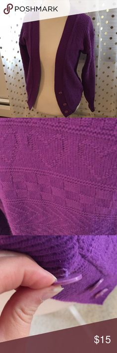 """Super Cute Freeze Frame 80's Vintage Sweater Super cute 80's purple vintage Freeze Frame sweater. Acrylic material, closes at front with three buttons. Top button is on the looser side but works fine. Excellent condition! Heart pattern 💕 No size indicated, measurements are as follows: approx 22"""" long, waist approx 15"""" across, approx 21"""" shoulder to shoulder,  arms approx 21"""". From a smoke free home! Freeze Frame Sweaters Cardigans"""