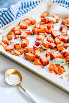 Simple + Savoury Sheet Pan Sweet Potatoes for all your Fall Recipes - soups, salads, sweet potatoe fries, baking & more! Just 4 ingredients!