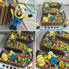 #minion #five #kitkat #m&ms #birthday #cake