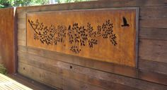 Tree Branch with Birds long narrow - PO Box Designs - corten steel - laser cut