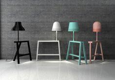 Det här speciella produkten heter ONE+ONE och själva idéen är att slå ihop två stycken olika former som bildar en lampa och bord kombination.