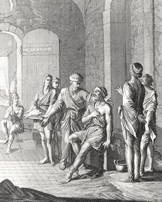 Phillip Medhurst presents Bowyer Bible print 3949 Works of mercy: visiting the prisoner Matthew 25:36 Caspar Luyken on Flickr. A print from the Bowyer Bible, a grangerised copy of Macklin's Bible in Bolton Museum and Archives, England.