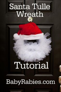 DIY Christmas Crafts : DIY Santa Tulle Wreath Tutorial @jess7481 @mdicentes @justantcan this is super cute and easy!!i bet we can get like $10 ish for this!