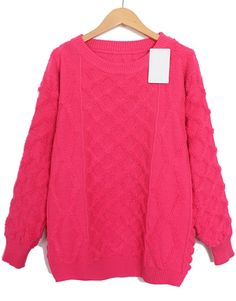 Rose Red Long Sleeve Diamond Patterned Knit Sweater EUR€22.43