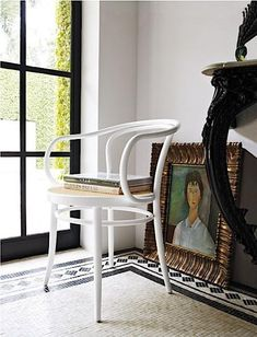 white chair and mosaic floor