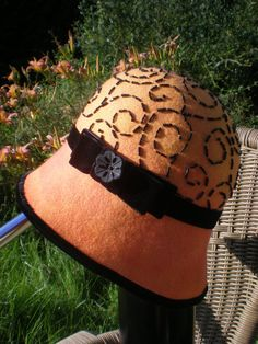 Handmade Hand Beaded Felt Cloche Hat. Yellow Felt by ArniesArtwork, £85.00