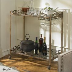 Uttermost Nicoline Iron Serving Cart with Casters - 24307 - Lowest price online on all Uttermost Nicoline Iron Serving Cart with Casters - 24307