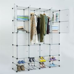 Daily Deals 16 Cube Rack Cabinet #Wardrobe DIY White #closet with 2 Layer Shoe Ark Ships From: #USA Warehouse  #USAToday #Deals #discounts #freeshipping #shippingnews #onlineshopping