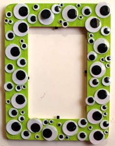 Create a fun Halloween decoration using googly eyes and a craft frame. Cute for table settings.