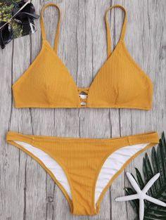 Criss Cross Spaghetti Strap Texture Bikini Set - Ginger M