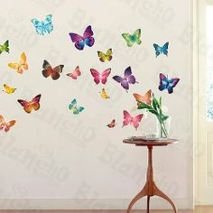 Butterflies 2 - X-Large Wall Decals Stickers Appliques Home Decor by Hemu Wall Sticker. $10.98. With little cost or effort you can decorate your home without the trouble or expense of painting.. This decal would be perfect for nearly any room in the house: your living room, bedroom, etc.. Simply apply this decal to your wall to immediately bring in a fresh new atmosphere and mood.. Size: (W)23.6 inch x (H)35.9 inch; Colors: Mixed (as shown in the image);. Show y...