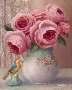 A lacy curtain, a tiny bird, an elegant vase and a bouquet of pink roses combine to create a romantic and elegant piece of artwork for your home. 10 x 8