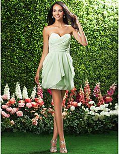 Short/Mini Chiffon Bridesmaid Dress - Sage / Royal Blue / Ruby / Champagne / Grape Plus Sizes / Petite Sheath/ColumnStrapless /