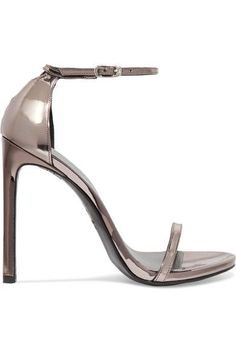 Stuart Weitzman - Nudist metallic leather sandals - #metallicleather - Stuart Weitzman - Nudist metallic leather sandals... Block Heel Loafers, Heeled Loafers, Leather Loafers, Leather Sandals, Leather Boots, Shoes Sandals, Black Pumps Heels, Stiletto Heels, High Heels