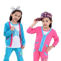 26.90$  Buy now - http://alicog.shopchina.info/go.php?t=1666399186 - 2015 New Spring Kids Girls Stars Sport T-Shirt 3 Sets,Baby Kids Clothes, Girls Overcoat Sets, Clothing For Baby Girl, Long Pants 26.90$ #SHOPPING