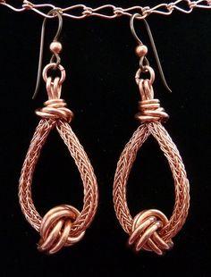 Items similar to Copper Viking Knit Tear Drop Earrings with Love Knots Niobium Ear Wires OOAK on Etsy - Items similar to Copper Viking Knit Tear Drop Earrings with Love Knots Niobium Ear Wires OOAK on Et - Copper Jewelry, Jewelry Art, Beaded Jewelry, Handmade Jewelry, Jewellery, Wire Wrapped Earrings, Wire Earrings, Teardrop Earrings, Knit Bracelet