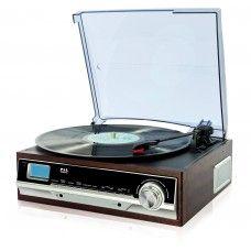 Holz #Plattenspieler #Schallplattenspieler Nostalgie Retro Design AUX IN PLL Radio LCD Display integr. #Lautsprecher Uhr Wecker