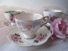 Vintage Pink Floral Teacup and Saucer Collection of by jenscloset, $23.50