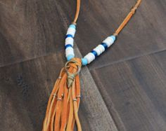 Leather Tassel Necklace with Bone Beads