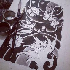 【chin_tattooer】さんのInstagramをピンしています。 《Before color #brushes #ink #black #blackandgreytattoo #blackworktattoo #swallow #tattoos #tattooart #drawing #painting #watercolour #traditional #tattooflash #art #instaart #cherryblossoms #flowers #flowertattoo #japanese #japanesesleeve #japanesetattoo #windbars #waves #tattooart #irezumi #tattoo #tattooed #ireland》