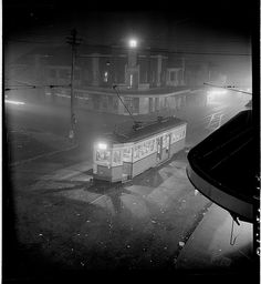 Night fog, Chatswood tram, July from Series Sydney people & streets, photographed by Brian Bird by State Library of New South Wales collection, Trains, Sydney City, As Time Goes By, History Photos, Vintage Photographs, Historical Photos, Continents, Public Transport, Old Photos