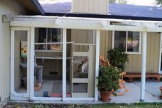 3. Outdoor Enclosures for Cats Many cats live their entire lives without ever setting foot on grass. The difference in their life expectancy as well as quality of life speaks for itself. (Constructed off living room window onto existing patio. Used chicken wire and 2x4s.)