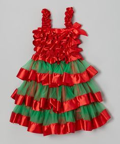 Take a look at this Red & Green Tiered Ruffle Dress - Infant, Toddler & Girls by Royal Gem on #zulily today!