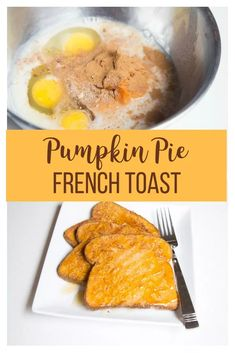 Pumpkin Pie French Toast Its time to start thinking about your favorite fall flavors This yummy breakfast will satisfy all of your pumpkin spice cravings The fact that it. Breakfast For Dinner, Breakfast Dishes, Breakfast Recipes, Breakfast Ideas, Pumpkin French Toast, Pumpkin Recipes, Fall Recipes, Egg Recipes, Pumpkin Foods