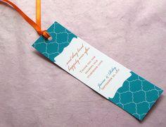Bookmark Favor  Monogram Indian Lattice  Modern and by ImbueYouIDo, $1.25