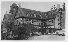This 1951 postcard photograph depicts a side view of the Claremont Hotel with its Elizabethan-style exposed timbers and high peaked roofs. Several cars are parked out front. Now known as the Claremont Resort & Spa, this hotel was larger than any other hotel on the Pacific Coast.
