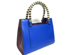 Auth-BVLGARI-Leather-Serpenti-Scaglie-Handbag-Electric-Blue