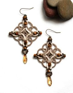 Celtic Knot Tatting Lace Beige Linen Dangle Beaded by KnotTherapy, $26.00