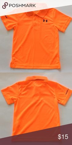 👫Under Armour Heat Gear shirt Under Armour Heat Gear Shirt. Bright fluorescent orange for your little sports man! 100% polyester . Size 4. Excellent condition. Under Armour Shirts & Tops Polos