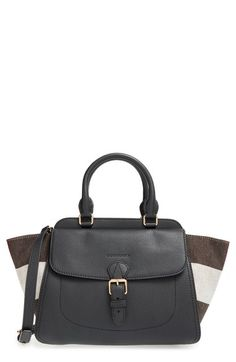 Burberry 'Medium Harcourt' Check & Pebbled Leather Satchel available at #Nordstrom