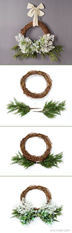 Winterize your grapevine wreath with pine spray, lamb's ear and white floral picks! Complete the look with a decorative bow.