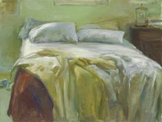 """Marc-Whitney""""Unmade Bed with Brown Blanket"""" Bay Area Figurative Movement, Unmade Bed, New Museum, How To Fall Asleep, Light Colors, Blanket, Contemporary, Beds, Laguna Beach"""