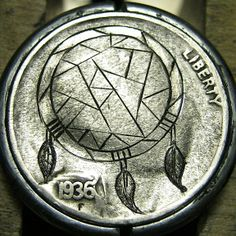 CHRISTOPHER STINNETT HOBO NICKEL - DREAMCATCHER* - 1936 BUFFALO NICKEL Hobo Nickel, Pocket Watch, Dream Catcher, Buffalo, Coins, Carving, Personalized Items, Accessories, Money