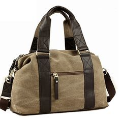 Toupons Fashion Vintage Medium Small Canvas Duffel Bag for Men Women Best Travel Luggage Tote Lightweight Carry on Bags Khaki ** Click image for more details.