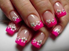 Daisy Nail Art, Daisy Nails, Flower Nails, Pink Nails, Nail Tip Designs, French Nail Designs, Cute Toe Nails, Pretty Nails, Hawaiian Nails